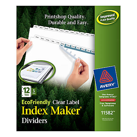 "Avery® EcoFriendlyIndex Maker® 100% Recycled Clear Label Dividers, 8 1/2"" x 11"", 12-Tab, White Dividers/White Tabs, Pack Of 5 Sets"