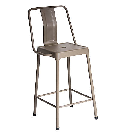 LumiSource Energy Counter Stools, Cappuccino, Set Of 2