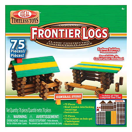 Ideal® Frontier Logs™ Classic All Wood Construction Set, 75 Pieces, Pre-K To Grade 4