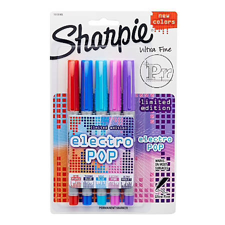 Sharpie® Electro Pop Permanent Markers, Ultra-Fine Point, Assorted Colors, Pack Of 5