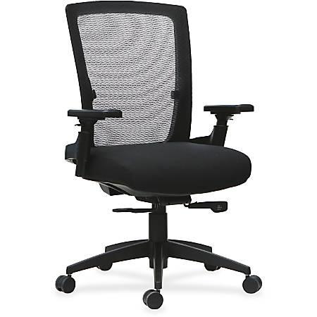 Lorell® 3D Arm Mid-Back Mesh/Fabric Chair, Black
