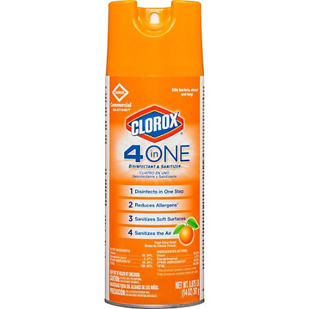 Clorox Commercial Solutions 4-in-One Disinfectant and Sanitizer - Spray - 0.11 gal (14 fl oz) - Fresh Citrus Scent - 12 / Carton