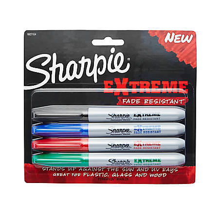 Sharpie® Extreme Permanent Markers, Fine Point, Assorted Colors, Pack Of 4