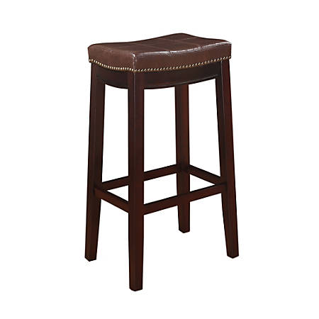 """Linon Home Décor Claridge Patches Bar Stool, 32""""H x 18 3/4""""W x 13 1/4""""D, Dark Brown"""
