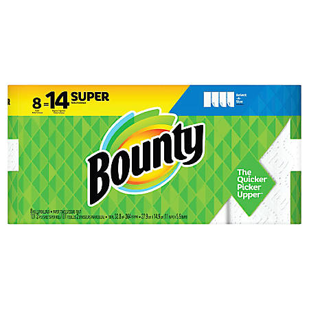 """Bounty Select-A-Size 2-Ply Paper Towel Rolls, Super, 11"""" x 364', White, 101 Sheets Per Roll, Pack Of 8 Rolls"""