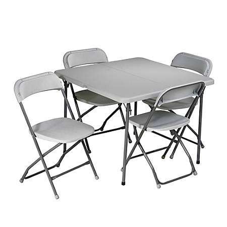 Work Smart 5 Piece Folding Table Chair Set Gray by Office Depot ...