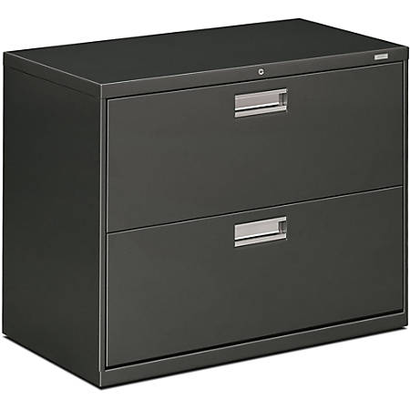 "HON® 600-Series Standard Lateral File With Lock, 2 Drawers, 28""H x 36""W x 19 1/4""D, Charcoal"