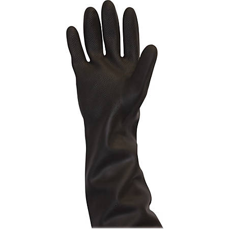 Safety Zone Black Heavy Duty Unlined Latex Gloves - Chemical Protection - Large Size - Latex - Black - Rolled Cuff, Raised Diamond Grip, Heavy Duty, Flock-lined - For Dishwashing, Cleaning, Meat Processing