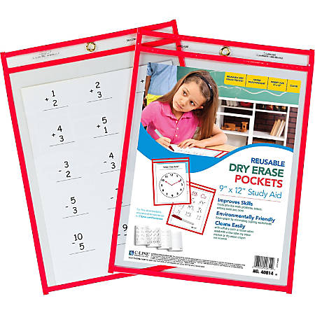 "C-Line Reusable Dry Erase Pocket - Letter - 8.50"" Width x 11"" Length Sheet Size - Red - 30 / Box"""