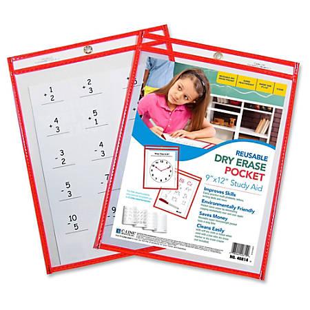 "C-Line Reusable Dry Erase Pocket - Letter - 8.50"" Width x 11"" Length Sheet Size - Red - 30 / Box"""