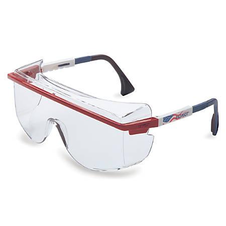 Astrospec OTG 3001 Eyewear, Clear Lens, HC, Ultra-dura, Blue/Red/White Frame