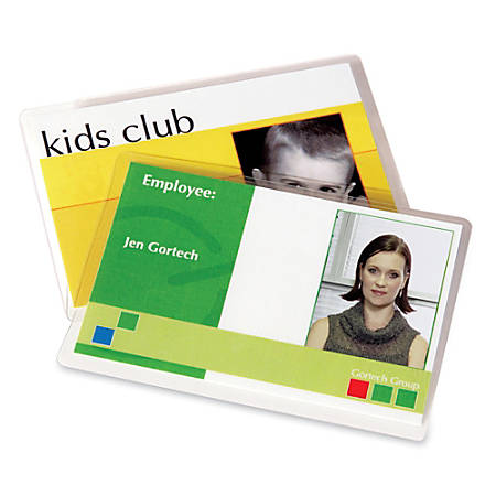 """Fellowes® Glossy Business Card Laminated Pouches, 2 5/8"""" x 3 7/8"""", Pack Of 100"""