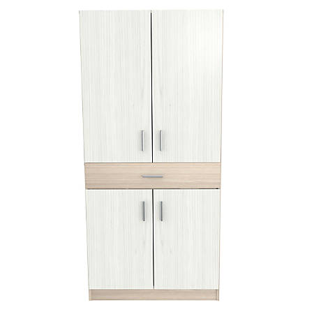 Inval Computer Cabinet Workstation, Beech/Laricina White