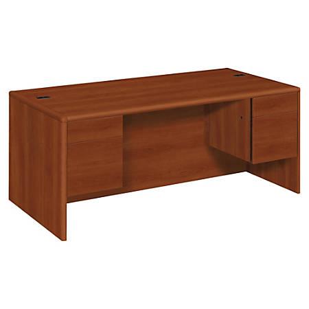 HON® 10700 Series Laminate Double Pedestal Desk, Cognac