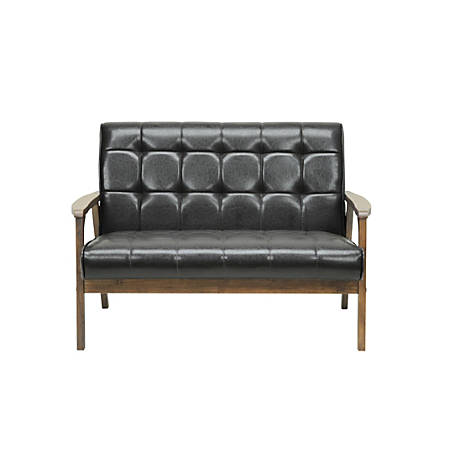 Baxton Studio Levin Faux Leather Loveseat, Brown