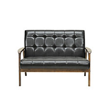 Baxton Studio Levin Faux Leather Loveseat