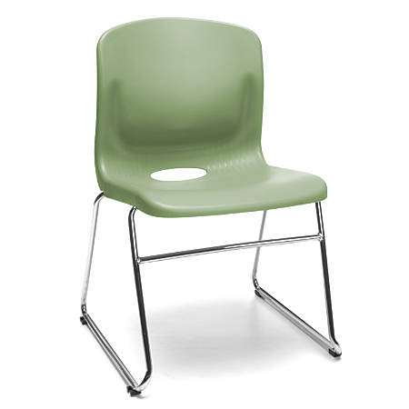 OFM Multi-Use Stacker Chairs, Olive/Chrome, Set Of 4