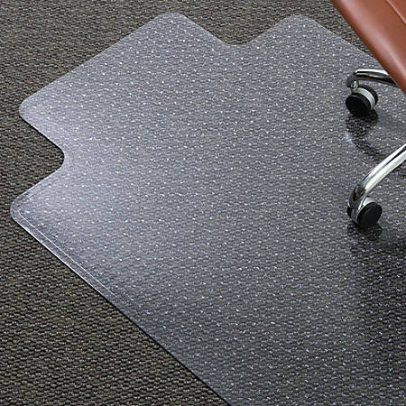 """ES Robbins Everlife Medium-pile Chairmats with Lip - Carpeted Floor - 53"""" Length x 45"""" Width - Rectangle - Vinyl - Clear"""