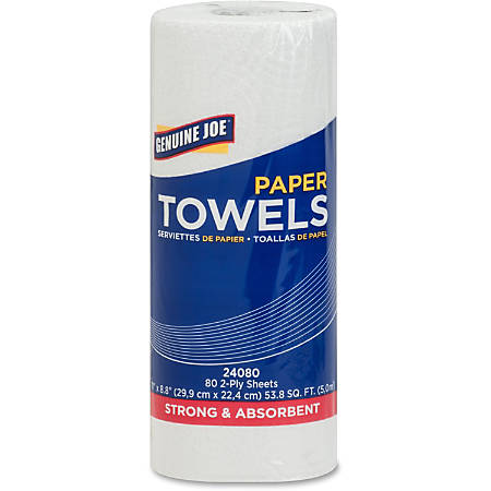 "Genuine Joe 2-Ply Household Roll Towels, 11"" x 8"", White, Roll Of 80 Sheets, Carton Of 30 Rolls"
