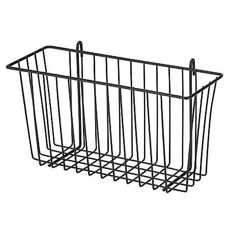 """Honey-Can-Do Wire Shelf Accessory Basket, 13 3/8""""L x 5""""W x 7 5/8""""H, Black"""