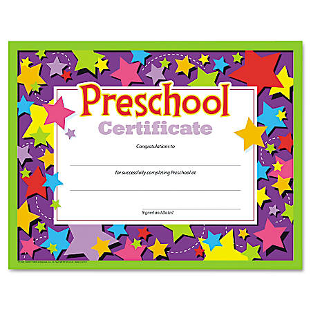 """TREND Colorful Classic Preschool Certificates, 8 1/2"""" x 11"""", Assorted Colors, Pack Of 30"""