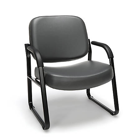 OFM Big And Tall Anti-Bacterial Guest Reception Chair With Arms, Charcoal/Black