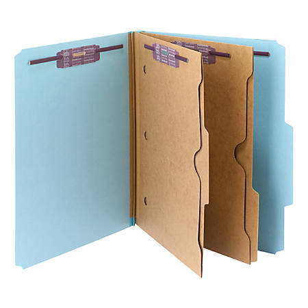 Smead® Pressboard Classification Folders With SafeSHIELD® Fasteners And 2 Pocket Dividers, Letter Size, 50% Recycled, Blue, Box Of 10