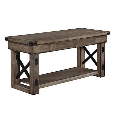 Ameriwood™ Home Wildwood Wood Veneer Entryway Bench, 1 Shelf/1 Drawer, Rustic Gray