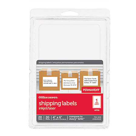 "Office Depot® Brand Permanent Inkjet/Laser ID Labels, OD98814, 4"" x 6"", White, Pack Of 20"