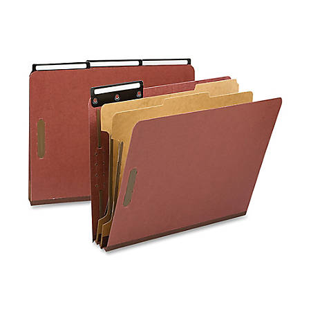 """Smead® 1/3-Cut Metal Tab Classification Folders, Letter Size, 2"""" Expansion, 60% Recycled, Red, Box Of 10"""