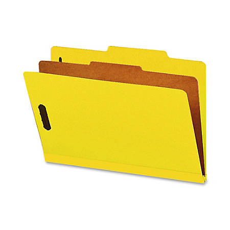 """Smead® Classification Folders, With SafeSHIELD® Coated Fasteners, 1 Divider, 2"""" Expansion, Legal Size, 50% Recycled, Yellow, Box Of 10"""