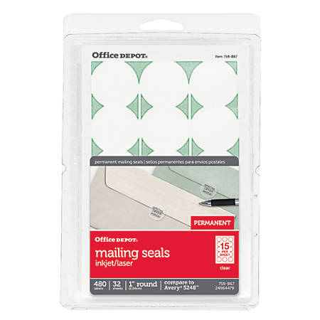 """Office Depot® Brand Permanent Mailing Seals, 1"""" Diameter, Clear, Pack Of 480"""