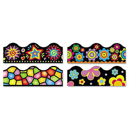 "TREND Terrific Trimmers Board Trim, 2 1/4"" x 3 1/4', Bright On Black, Assorted Colors, Set Of 48"