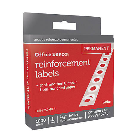 "Office Depot® Brand Permanent Self-Adhesive Reinforcement Labels, 1/4"" Diameter, White, Pack Of 1,000"
