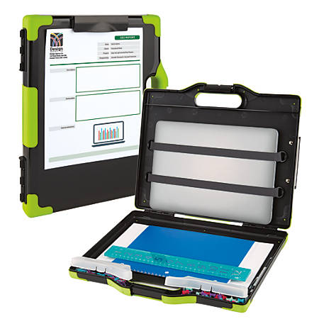 """Office Depot® Brand Carry-All Clipboard Storage Box, 15 1/2""""H x 13""""W x 2""""D, Charcoal/Green"""