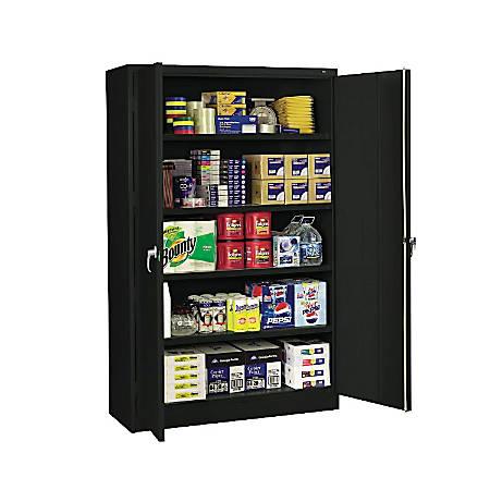 "Tennsco Jumbo Steel Cabinets, 5 Shelves, 78""H x 48""W x 24""D, Black"