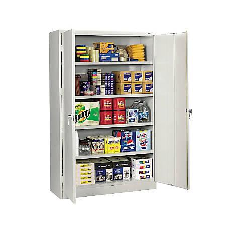 """Tennsco Jumbo Steel Cabinets, 5 Shelves, 78""""H x 48""""W x 24""""D, Light Gray"""