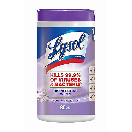 """Lysol® Disinfecting Wipes, Early Morning Breeze, 8"""" Square, White, Canister Of 80"""