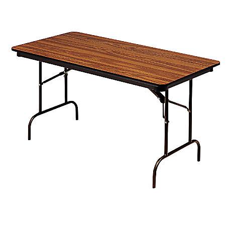 "Iceberg Premium Folding Table, Rectangular, 72""W x 30""D, Oak/Brown"