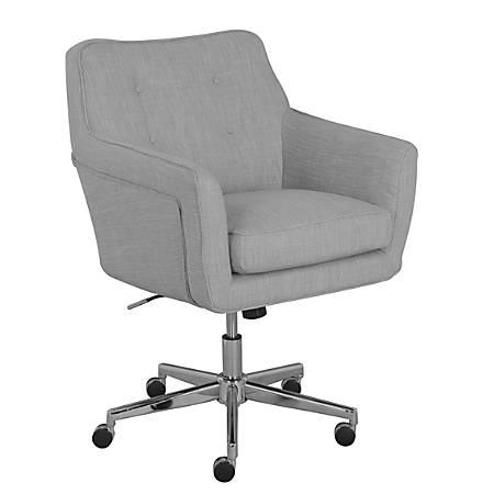Serta Ashland Mid-Back Office Chair, Light Gray/Chrome