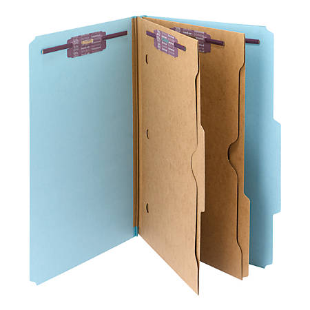 Smead® Pressboard Classification Folders With SafeSHIELD® Fasteners And 2 Pocket Dividers, Legal Size, 50% Recycled, Blue, Box Of 10