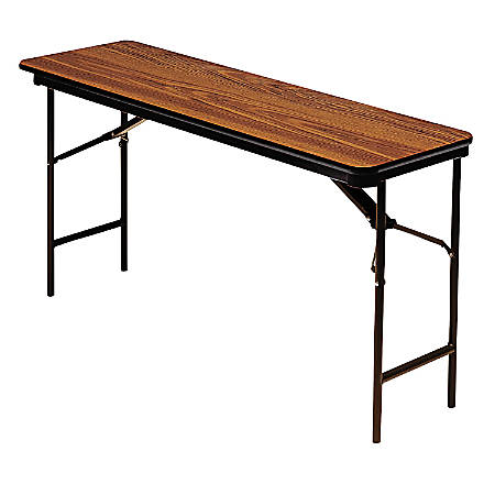 "Iceberg Premium Folding Table, Rectangular, 60""W x 18""D, Oak/Brown"