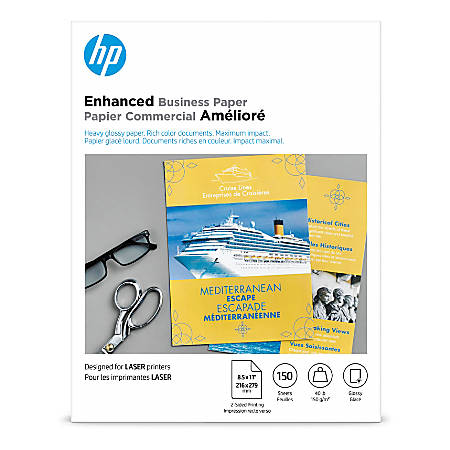 "HP Glossy Color Laser Brochure Paper, 8 1/2"" x 11"", 40 Lb, Pack Of 150 Sheets"