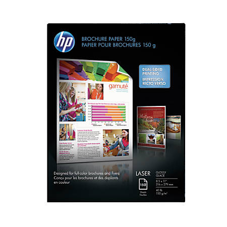 Hp glossy color laser brochure paper 8 12 x 11 40 lb pack of 150 print hp glossy color laser brochure paper reheart Image collections