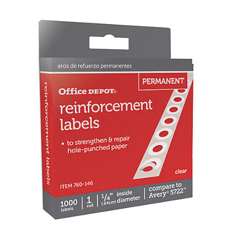 """Office Depot® Brand Permanent Self-Adhesive Reinforcement Labels, 1/4"""" Diameter, Clear, Pack Of 1,000"""