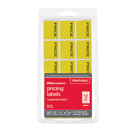 "Office Depot® Brand Price Tags, 3/4"" x 15/16"", Yellow, Pack Of 180"