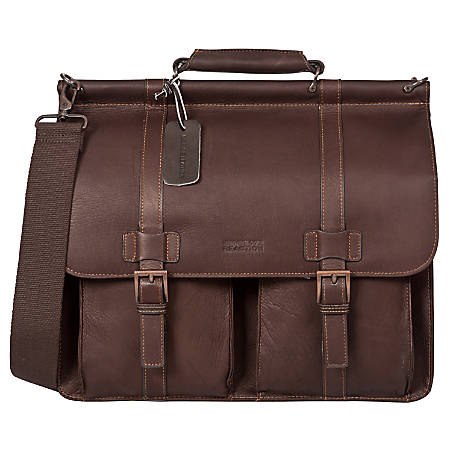 """Kenneth Cole Reaction Colombian Leather Dowel Rod Portfolio With 15"""" Laptop Pocket, Brown"""