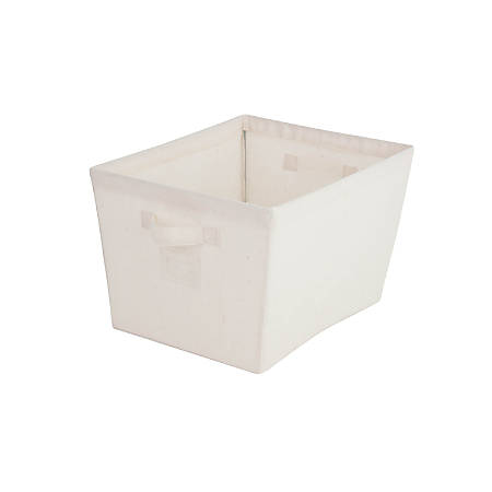 "Honey-Can-Do Canvas Tapered Tote Bin, 15""L x 13""W x 9 13/16""H, Natural/Silver"