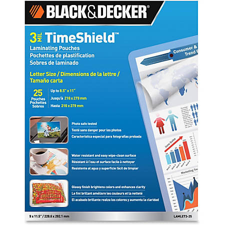 Black & Decker TimeShield Thermal Laminting Pouches, Letter Size, 3 Mil Thickness, Clear, Pack Of 25