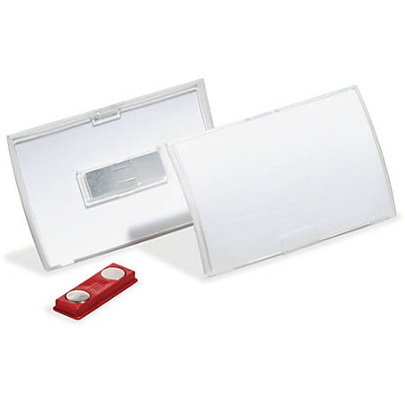 "DURABLE Click Fold Magnet Badge Holder - 2.9"" x 3.8"" x 0.3"" - Polypropylene - 10 / Pack - Clear"